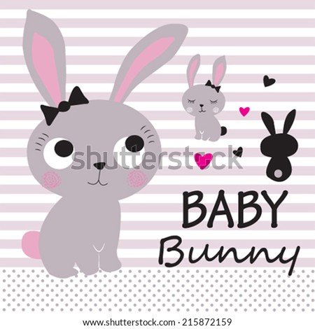 cute bunny card striped background vector illustration - stock vector