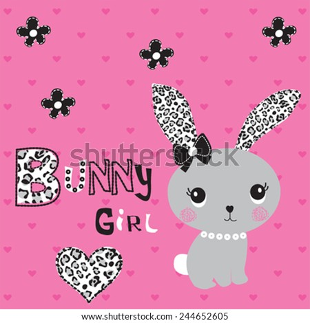cute bunny girl heart background vector illustration - stock vector