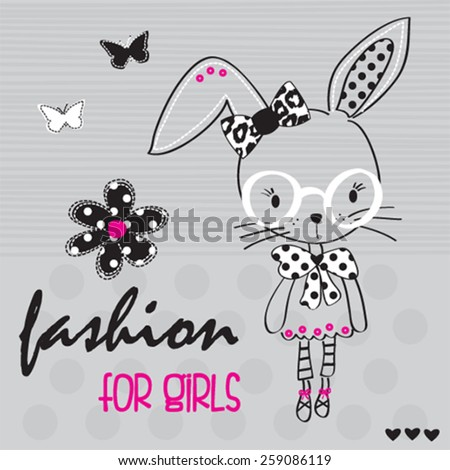 cute bunny girl with glasses and butterfly, T-shirt design vector illustration - stock vector