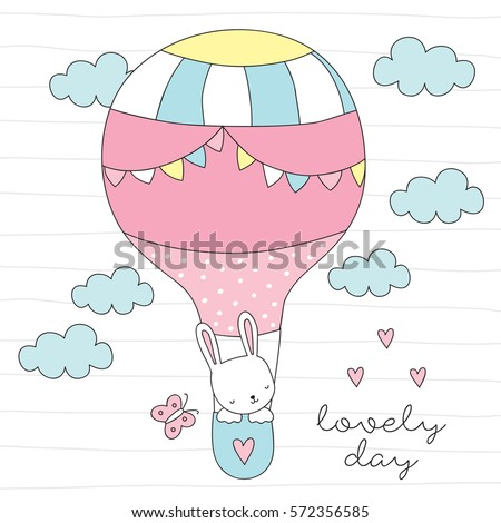 cute bunny in air balloon vector illustration