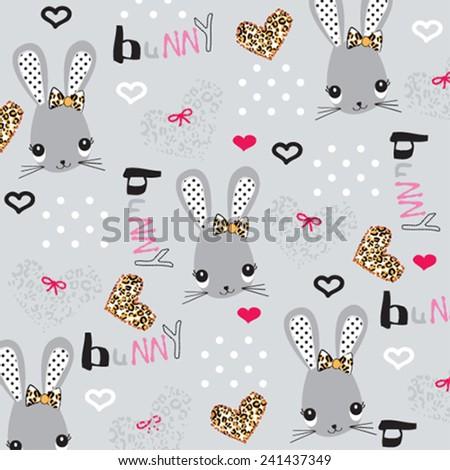 cute bunny kids background pattern vector illustration - stock vector