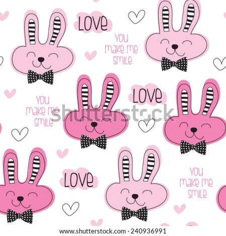 cute bunny love pattern vector illustration - stock vector