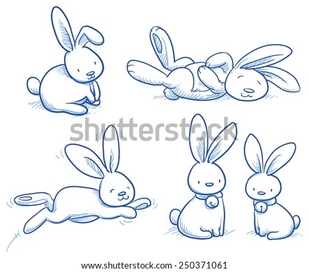 Cute bunny, rabbit collection, in different poses, for example for baby shower or easter card. Hand drawn vector illustration. - stock vector