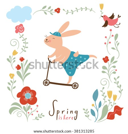 cute bunny rides by cycle  - stock vector