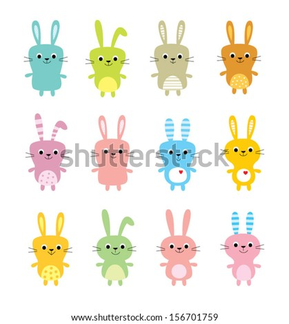 cute bunny vector - stock vector