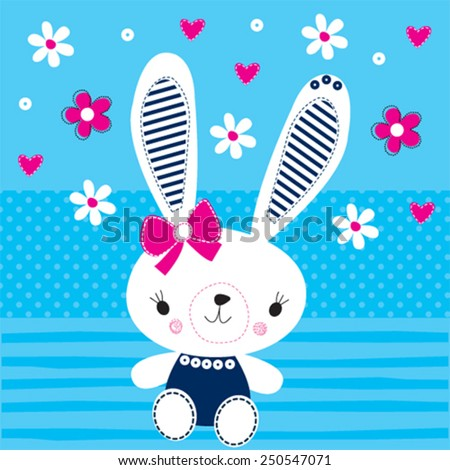 cute bunny with flowers easter card vector illustration - stock vector