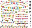 Cute bunting and garland set - stock vector