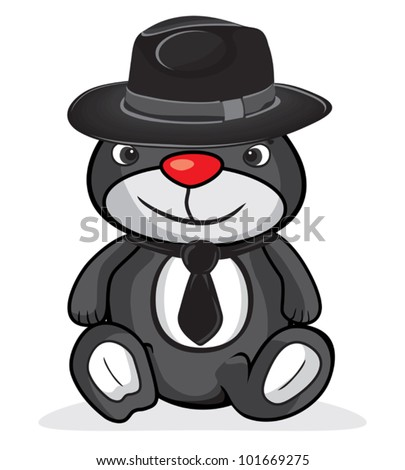 cute business bear - stock vector