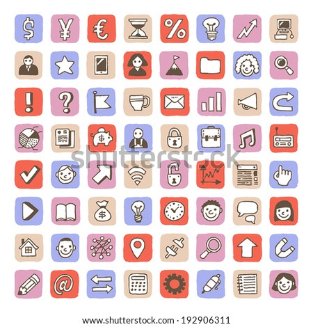 Cute business icons set. Vector. Hand drawn.