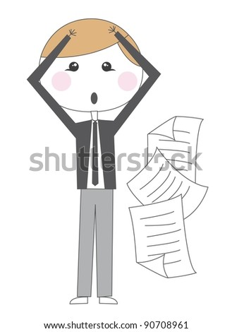 cute businessman desperate with papers vector illustration - stock vector