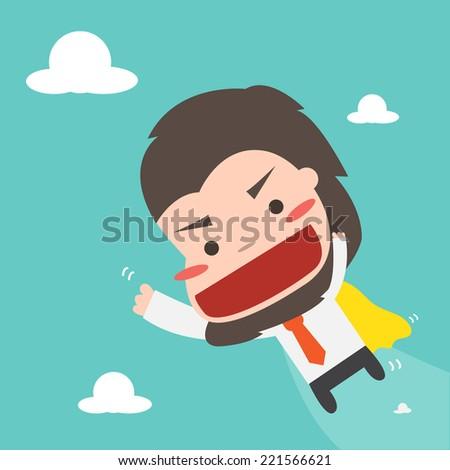 Cute Businessman flying on sky ,Vector cartoon concept abstract business - stock vector