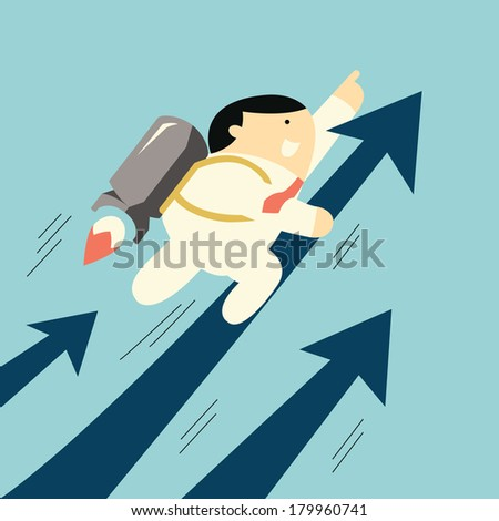 Cute businessman flying with rocket moving up fast with arrow, business concept in growth business.