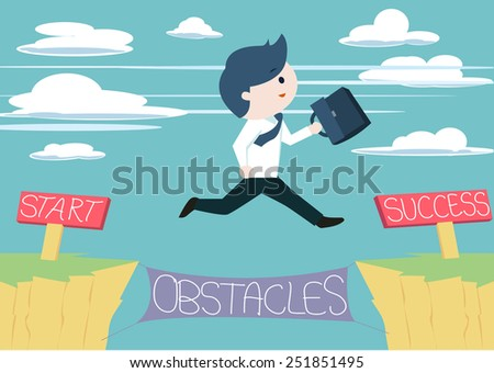 Cute businessman jump across the obstacles from start to success point. Cute business man jump across the cliff without fear of failures. Taking risk in order to success or achieve his goal. - stock vector