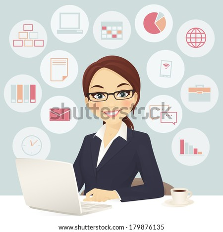 Cute businesswoman in office with laptop - stock vector