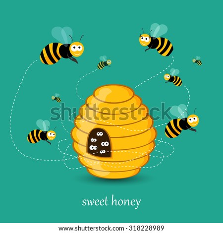 Cute busy bees flying around a bee hive flat illustration in vector - stock vector