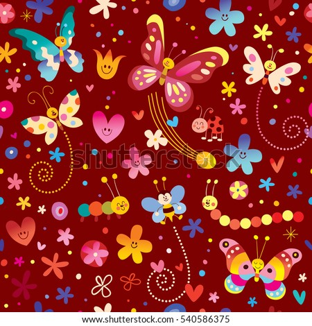 cute butterflies beetles flowers nature seamless pattern