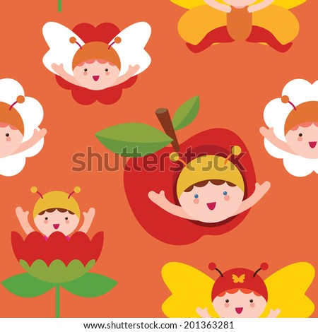Cute butterfly babies seamless print - stock vector