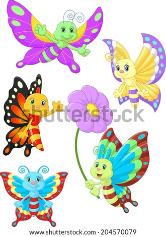 Cute butterfly cartoon collection set - stock vector