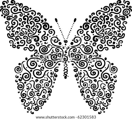 cute butterfly made of elements - stock vector