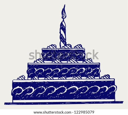 Cute cake. Doodle style - stock vector