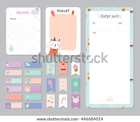 Cute Calendar Daily Weekly Planner Template Stock Vector 446684014