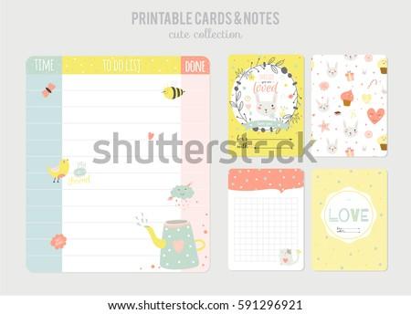 Cute Calendar Daily Planner Template Beautiful Stock Vector ...