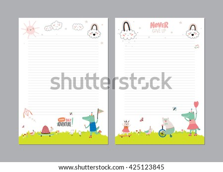 Cute Calendar Daily Planner Template for 2016. Beautiful Diary with Vector Funny Animals Illustrations. Good for Kids. Summer Season Holidays Backgrounds. Organizer and Schedule with place for Notes - stock vector