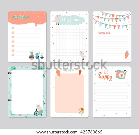 Cute Calendar Daily Planner Template for 2016. Note Paper Set with Vector Funny Animals Illustrations. Good for Kids. Summer Season Holidays Backgrounds. Organizer and Schedule with place for Notes - stock vector