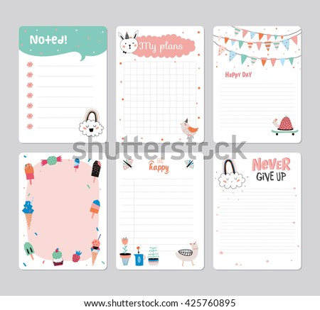 Cute Calendar Daily Weekly Planner Template Stock Vector 446684017