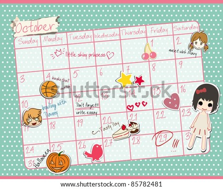 Cute Calendar/ October 2011 - stock vector