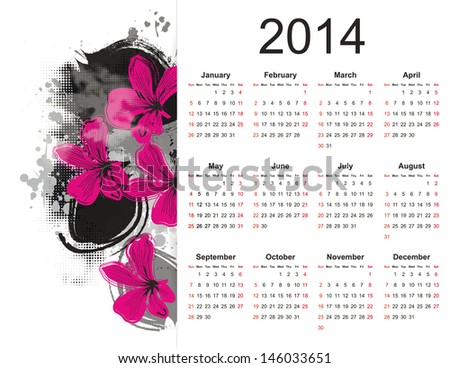 cute calendar on 2014 year with flowers