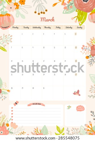 Cute Calendar Daily Weekly Planner Template Stock Vector 446684020