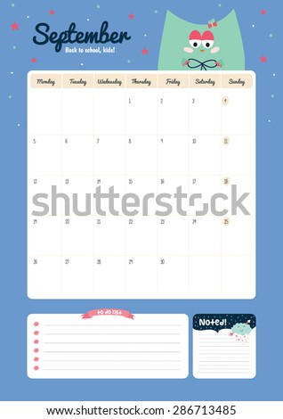 Cute Calendar Template  Yearly Planner Stock Vector