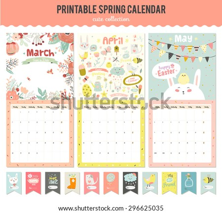 Cute Calendar Template 2017 Yearly Planner Stock Vector 473529382