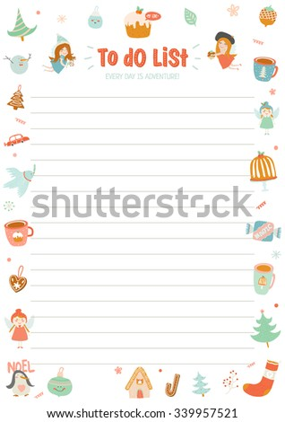 Cute Calendar Weekly Planner Template for 2016. Beautiful Diary with Vector Character and Funny Christmas Illustrations. Winter Season Holidays Backgrounds. Organizer and Schedule with place for Notes - stock vector