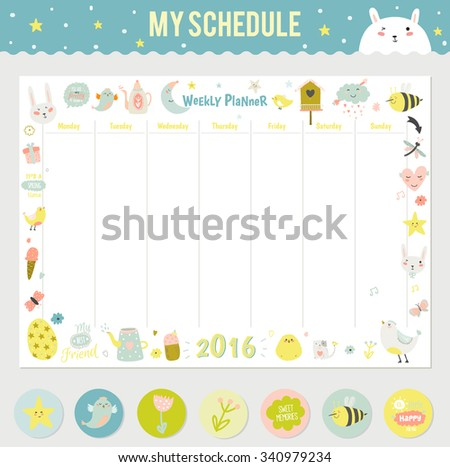 Cute Calendar Weekly Planner Template 2016 Stock Vector 340979234