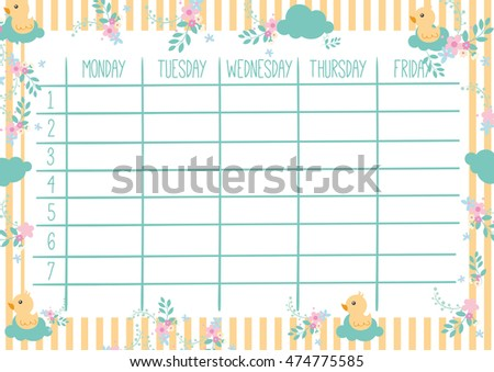 School Timetable Stock Images RoyaltyFree Images  Vectors