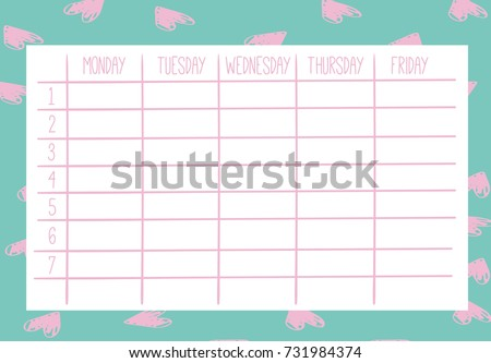 Cute Calendar Weekly Planner Template Organizer Stock Photo Photo