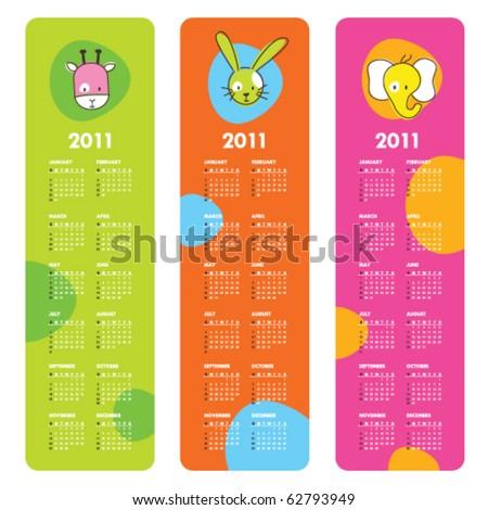 Cute calendars 2011 - stock vector