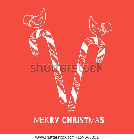 Cute candy cane with birds. Hand drawn Christmas vector card - stock vector