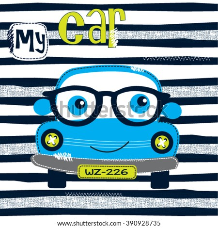 cute car cartoon with glasses on striped background, T-shirt design for kids vector illustration - stock vector
