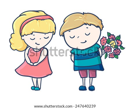 Cute card for Valentine's Day girl with boy love - stock vector