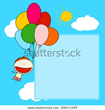 Cute card with a boy flying with a bunch of balloons - stock vector