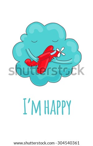 Cute card with a cartoon cloud that hugs the red plane. - stock vector