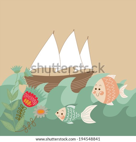Cute card with boat, fishes, waves and flowers - stock vector