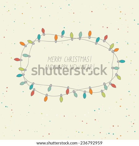cute card with christmas lights - stock vector