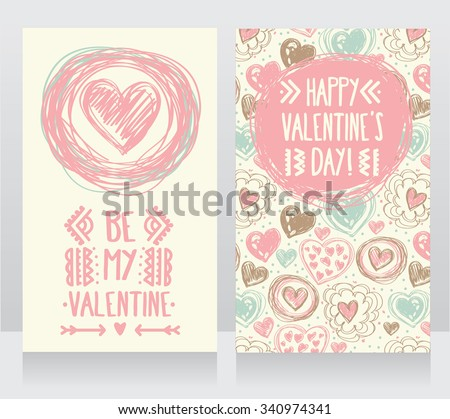 Cute card with doodle heart icons for valentines day, retro colors, vector illustration - stock vector