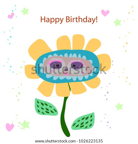 Cute card with flower