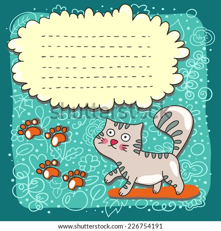 Cute card with funny cartoon cats on funny doodle background. Vector kids illustration.