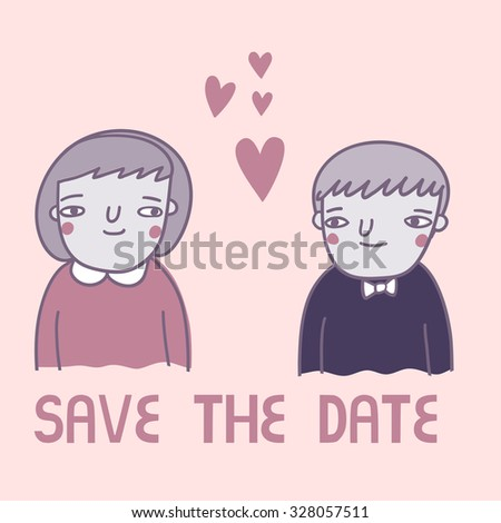 Cute card with  girl and boy in funny cartoon style. Save the date illustration template  - stock vector